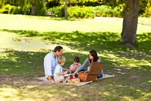A family having a picnic at Washington Park in Sunnyvale, California.